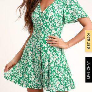 Lulus green floral skater dress